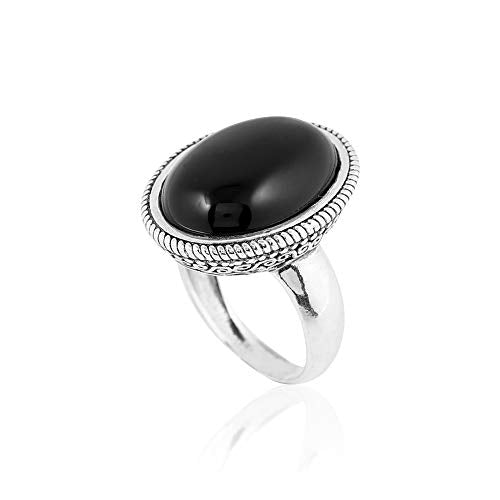 Sterling Silver Victorian Oval-Shaped Onyx Cocktail Ring  - Paz Creations Jewelry