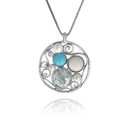 "PZ Paz Creations 925 Sterling Silver Roman Glass Necklace for Women Girls | Modern Multi-Gemstone Pendant with 18"" Box Chain 