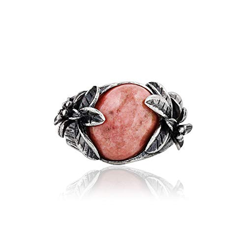 Sterling Silver Oval-Shaped Rhodonite Gemstone Ring - Blooming Floral Design  - Paz Creations Jewelry