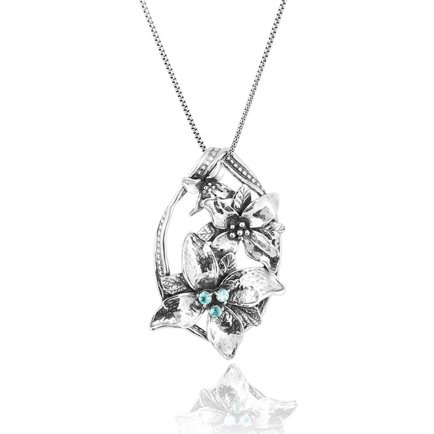 "Sterling Silver and Apatite Gemstone Floral Pendant Necklace - 24"" Box Chain  - Paz Creations Jewelry"