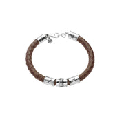 Guanine Braided Leather and Sterling Silver Bracelet For Men  - Paz Creations Jewelry