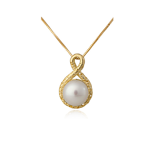 14k Gold 8.0mm Freshwater Cultured Pearl Knot Pendant Necklace for Women  - Paz Creations Jewelry