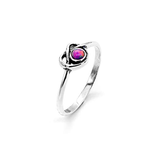 925 Sterling Silver Dainty Pink Opal Ring - Heart Knot Design  - Paz Creations Jewelry