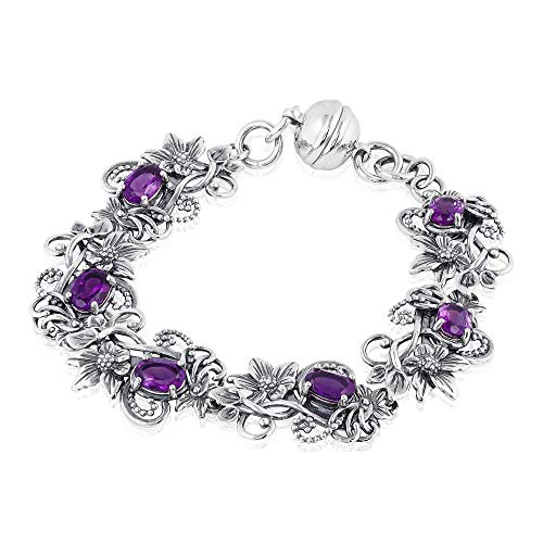 Sterling Silver Gemstone and Floral Link Design Magnetic Clasp Bracelet  - Paz Creations Jewelry