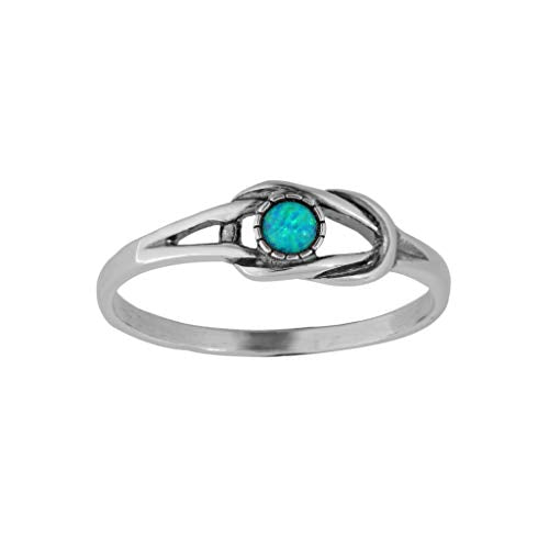 Sterling Silver Dainty Opal  Knot Ring  - Paz Creations Jewelry