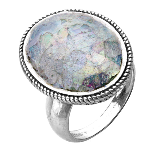 Silver Bold Oval Roman Glass Ring - Paz Creations