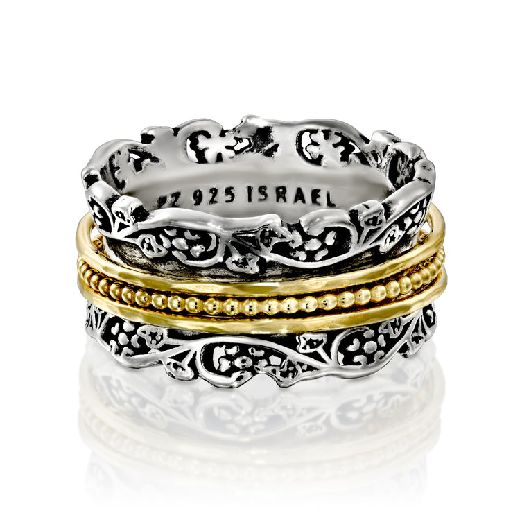 Silver Floral and Lace Design Spinner Ring - Paz Creations