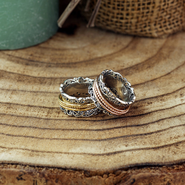 Silver Lace Design Spinner Ring with Silver, or Rose Gold or Yellow Gold Plated Spinners  - Paz Creations Jewelry