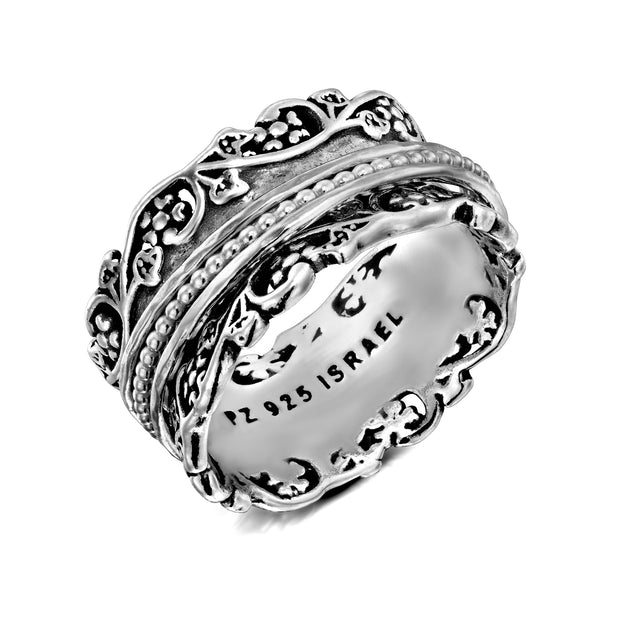 Silver Lace Design Spinner Ring with Silver, or Rose Gold or Yellow Gold Plated Spinners - Paz Creations