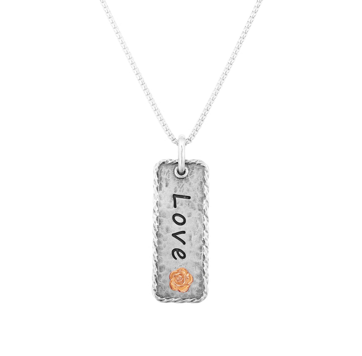 Sterling Silver Engraved Pendant Necklace for Mother's Day - LOVE  - Paz Creations Jewelry