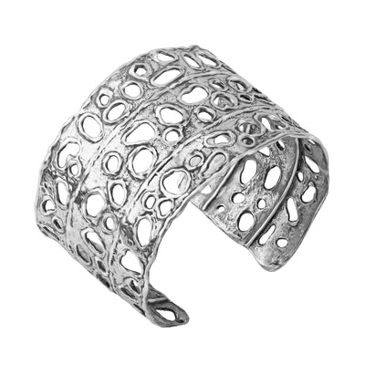 Sterling Silver Open Work Bold Cuff - Paz Creations