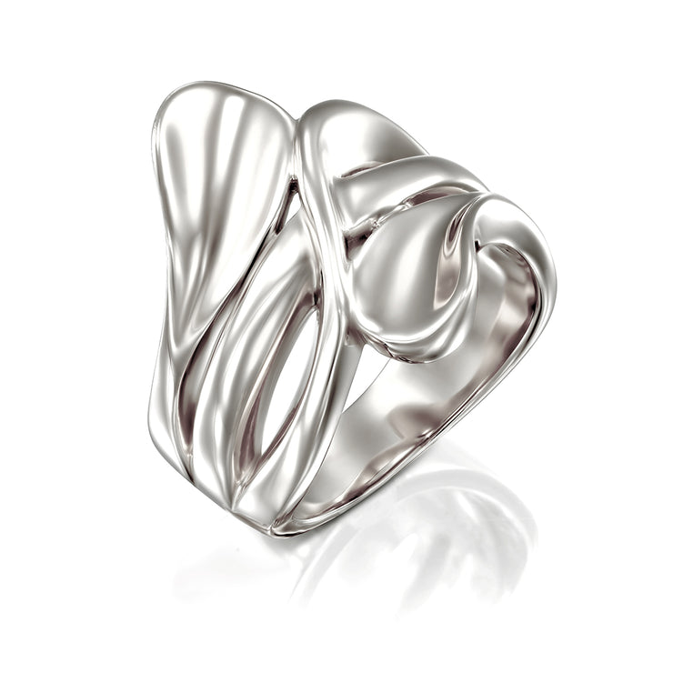 Sterling Silver Polished Modern Statement Bypass Ring - Available in 14K Gold, Rose Gold and Silver Finishes  - Paz Creations Jewelry