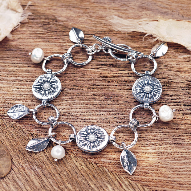 Sterling Silver Pearl and Leaf Charm Bracelet - Paz Boutique  - Paz Creations Jewelry