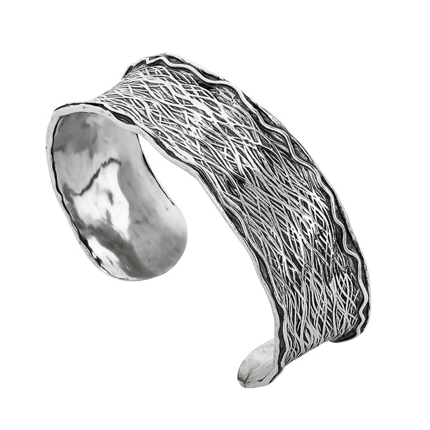 Sterling Silver Cuff - Bracelet with Textured Finished  - Paz Creations Jewelry