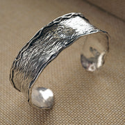 Sterling Silver Cuff - Bracelet with Textured Finished - Paz Creations