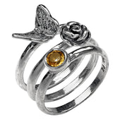Silver Butterfly Gemstone Stack Ring - Paz Creations