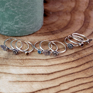 Silver Butterfly Set of Three Rings - Paz Creations
