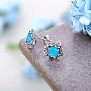 Sterling Silver Blue Opal Floral Stud Earrings - Paz Creations
