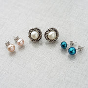 Silver Boxed Set of Three Pairs of Earrings - Paz Creations
