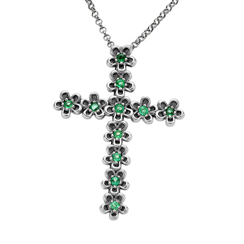 Sterling Silver Gemstone Cross Pendant with Chain