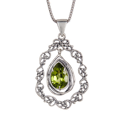 Sterling Silver Pendant Necklace with Marquis Gemstone - Paz Creations