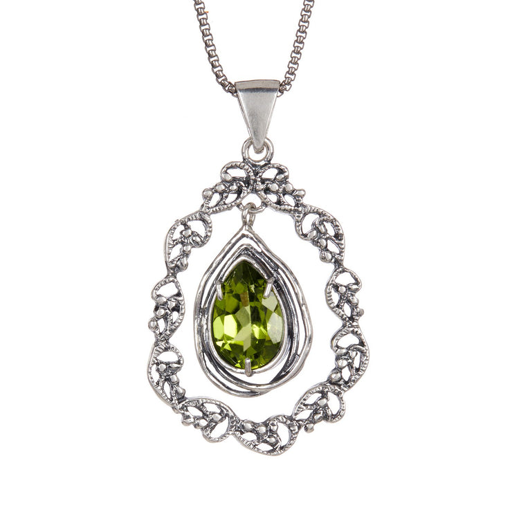 Sterling Silver Pendant Necklace with Marquis Gemstone  - Paz Creations Jewelry