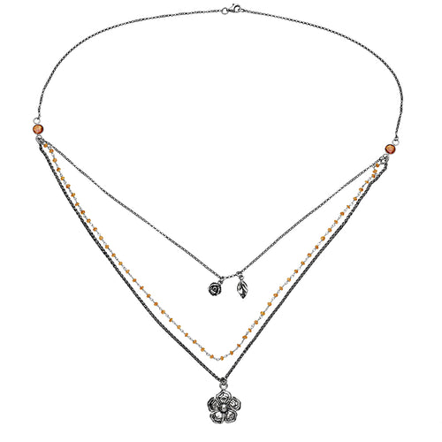 Sterling Silver Multi-Strand Gemstone Necklace