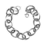 Sterling Silver Textured Link Bracelet - Paz Boutique  - Paz Creations Jewelry