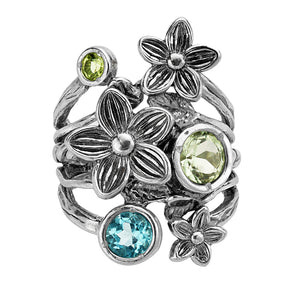 Sterling Silver Floral and Gemstone Ring
