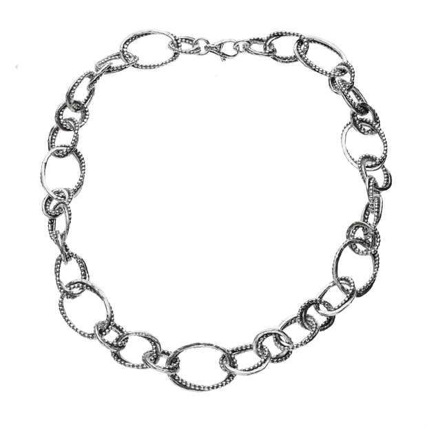 Sterling Silver Textured Link Chain Necklace - Paz Boutique  - Paz Creations Jewelry