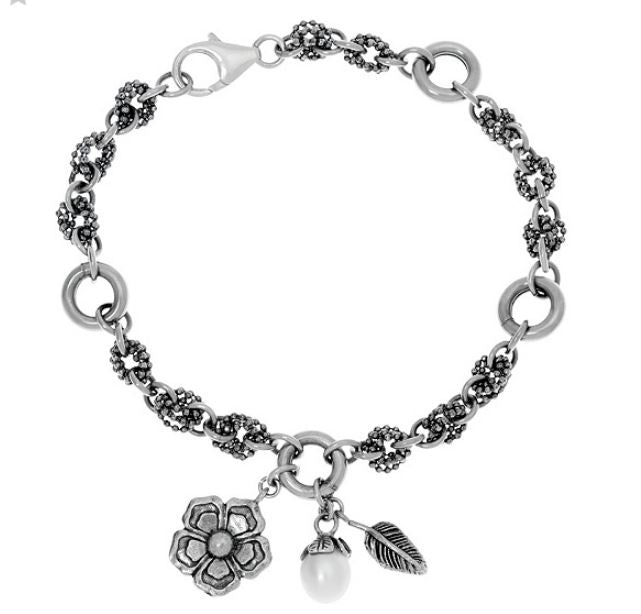 Silver Flower and Pearl Charm Bracelet  - Paz Creations Jewelry