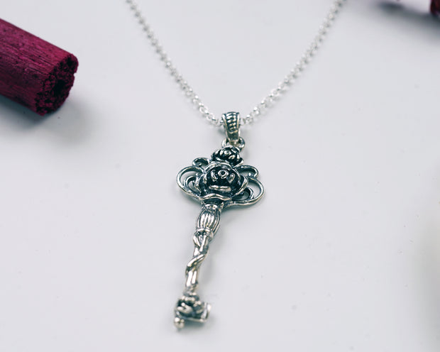 Sterling Silver Rose Key Pendant Necklace - Paz Boutique  - Paz Creations Jewelry