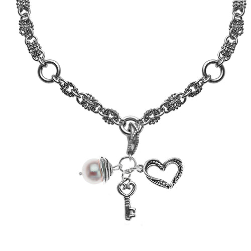 Sterling Silver Heart and Pearl Charm Necklace