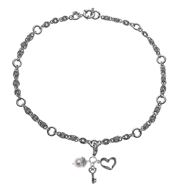 Sterling Silver Heart, Key and Pearl Charm Necklace  - Paz Creations Jewelry