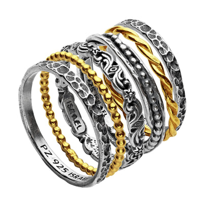Sterling Silver Set of Six Stack Rings - Paz Creations