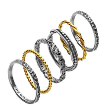Sterling Silver Set of Six Stack Rings
