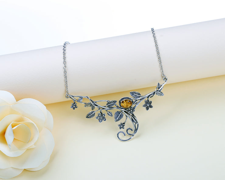 Sterling Silver Floral Swirl Gemstone Necklace  - Paz Creations Jewelry