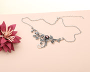 Sterling Silver Gemstone Floral Swirl Pendant Necklace  - Paz Creations Jewelry