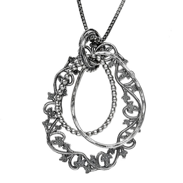 Sterling Silver Lace Textured Pendant Necklace  - Paz Creations Jewelry