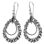 Sterling Silver Pear Shaped Dangle Earrings - Paz Creations