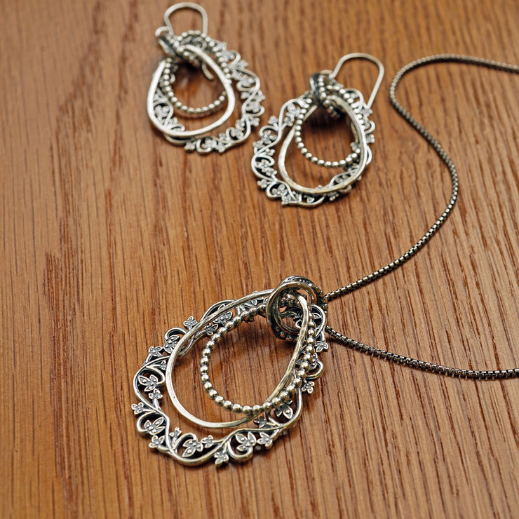 Sterling Silver Pear Shaped Earrings & Pendant Set - Paz Creations