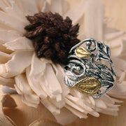 Sterling Silver and 14K Gold Leaf Ring  - Paz Creations Jewelry