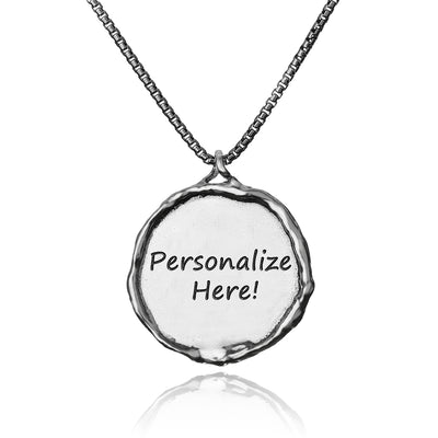 Sterling Silver Personalized Pendant Necklace - ROUND PENDANT - Paz Creations