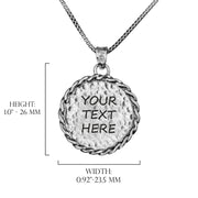 Sterling Silver Personalized Pendant Necklace - BRAIDED ROUND PENDANT  - Paz Creations Jewelry