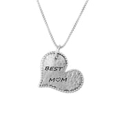 "Sterling Silver ""BEST MOM"" Pendant Necklace  - Paz Creations Jewelry"
