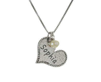 Sterling Silver Personalized Single Heart and Pearl Pendant Necklace - Paz Creations