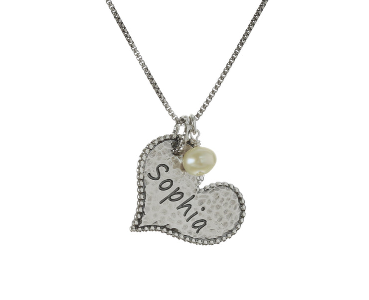 Sterling Silver Personalized Single Heart and Pearl Pendant Necklace  - Paz Creations Jewelry