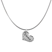 Sterling Silver Personalized Pendant Necklace - SINGLE Heart with  - Paz Creations Jewelry