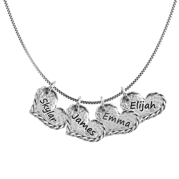 Sterling Silver Personalized Necklace - FOUR hearts - Engravable  - Paz Creations Jewelry
