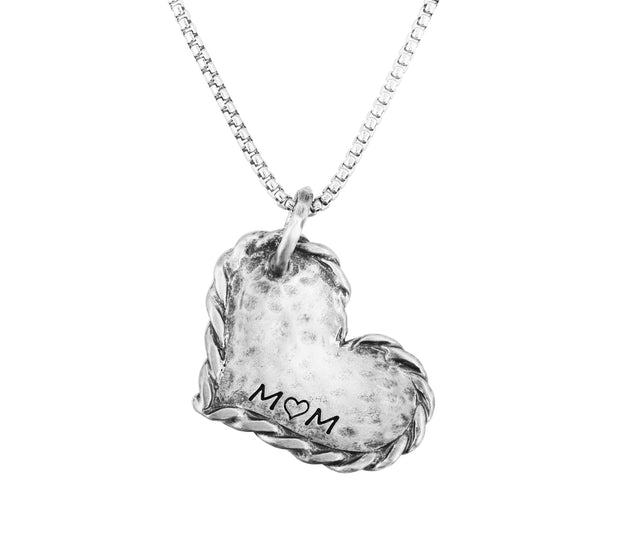 "Silver ""MOM"" Heart Pendant Necklace  - Paz Creations Jewelry"